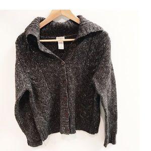 LL Bean chunky knit cardigan sweater wool blend S